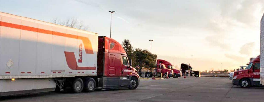 Crete Carrier truck leaving the lot