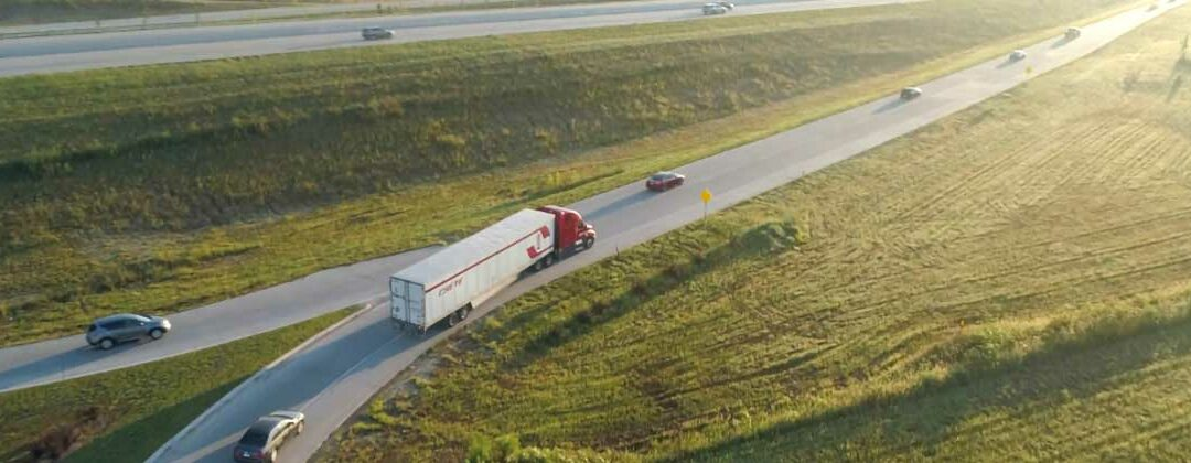 Truck drone shot entering interstate