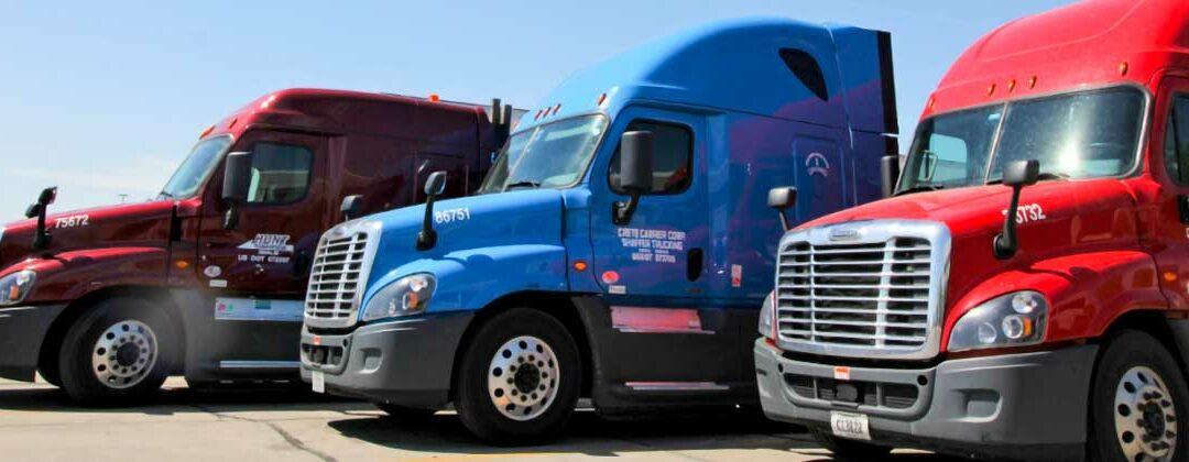 Crete Carrier, Shaffer Trucking, and Hunt Transportation trucks