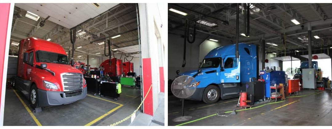 Trucks in shop bays
