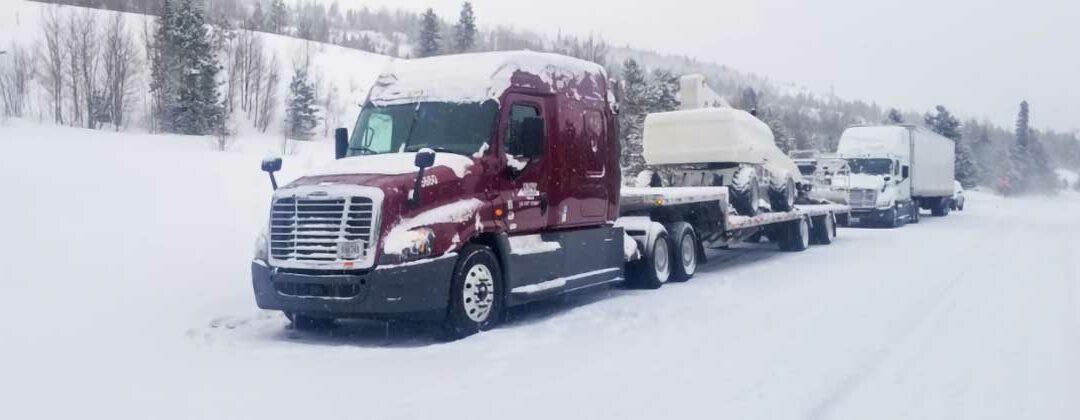 truck driving on winter roads